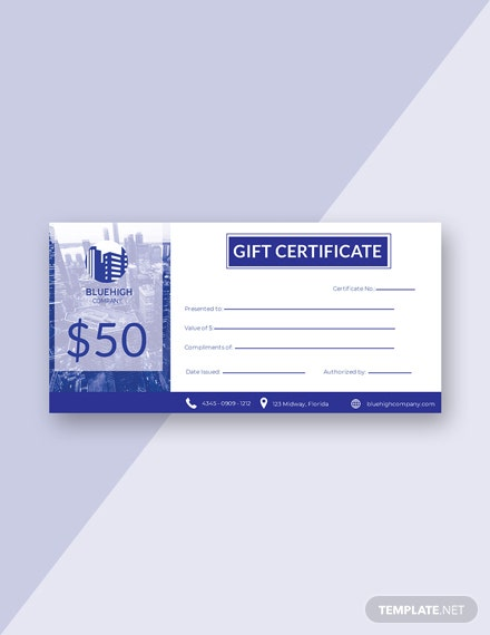 Free Company Gift Certificate Template