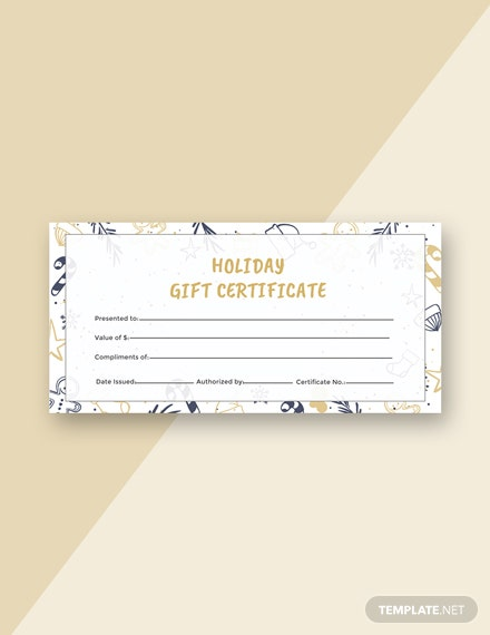 Free Holiday Gift Certificate Template