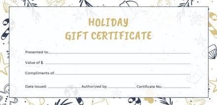Free gift certificates free templates free holiday gift certificate template yelopaper Choice Image