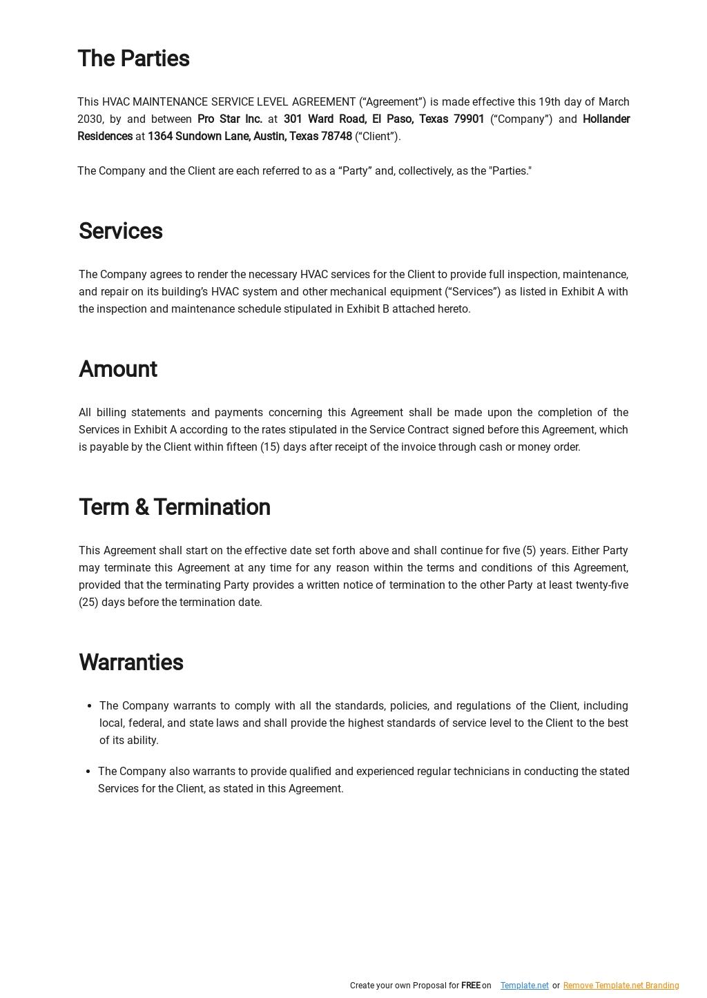 Free HVAC Maintenance Service Level Agreement Template 1.jpe