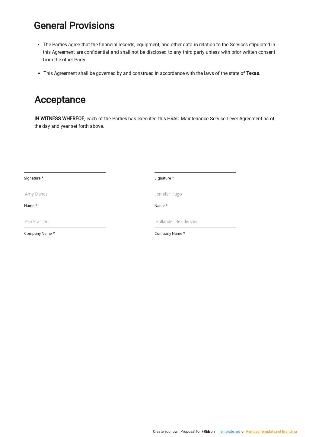 Free HVAC Maintenance Service Level Agreement Template 2.jpe