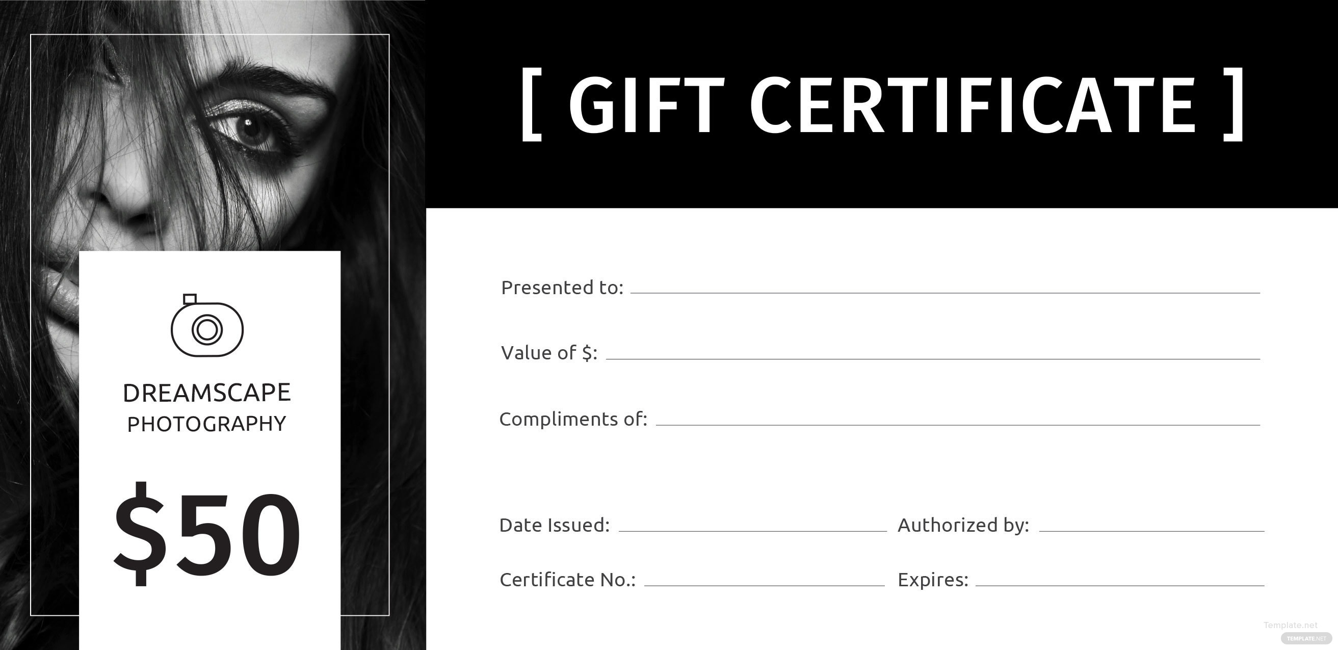 Free photography gift certificate template in adobe illustrator photography gift certificate template free download 1betcityfo Images