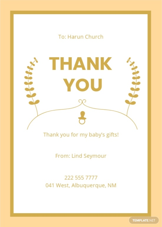 Free Golden Baby Shower Thank You Card Template.jpe