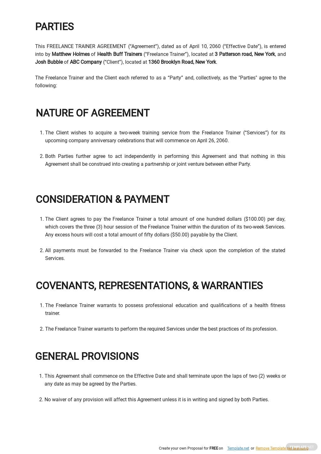 Freelance Trainer Agreement Template  1.jpe