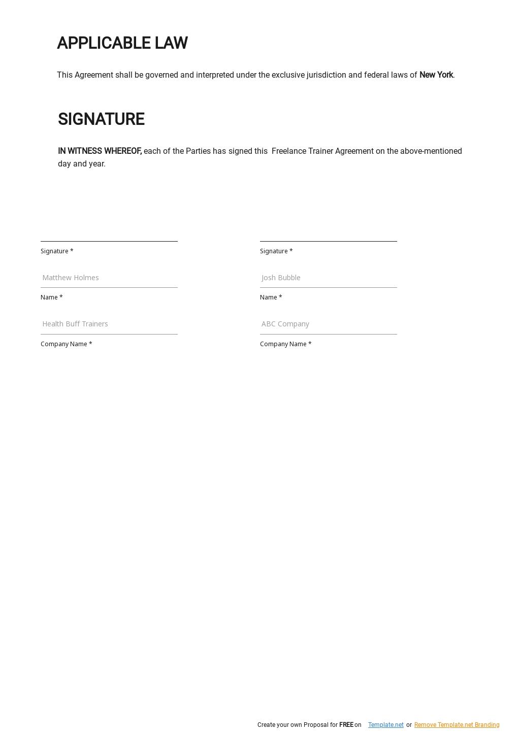 Freelance Trainer Agreement Template  2.jpe