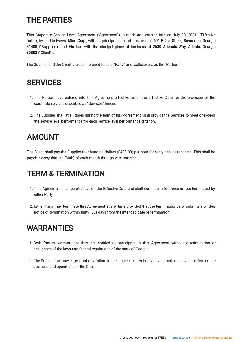Free Corporate Service Level Agreement Template 1.jpe