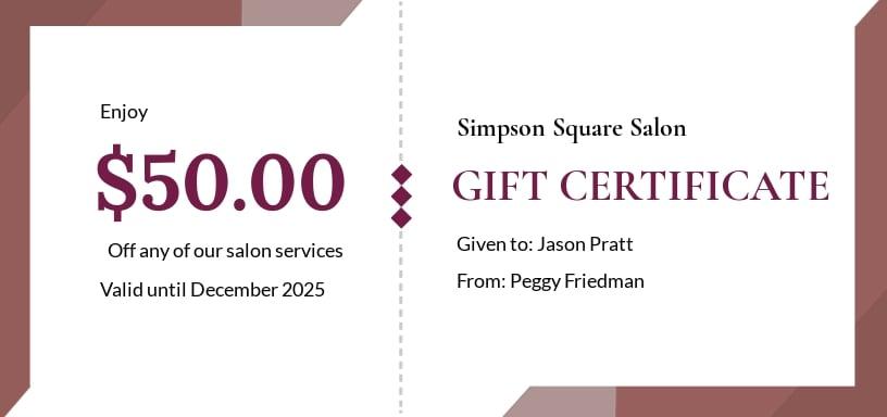 Free Salon Gift Certificate Template