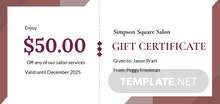 Free Salon Gift Certificate Template
