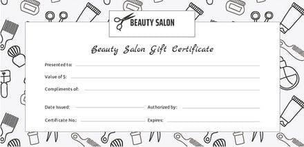 Free Salon Gift Certificate Template In Adobe IllustratorPhotoshop - Free salon gift certificate template