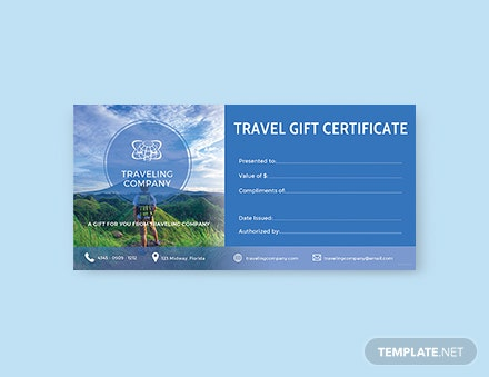 Free Travel Gift Certificate Template In Adobe IllustratorPhotoshop - Travel gift certificate template