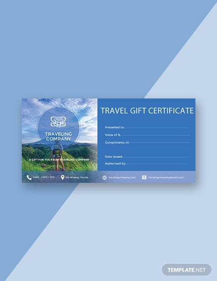 FREE Travel Gift Certificate Template Download 200 Certificates In
