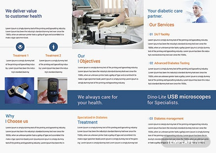 Diabetes Brochure Trifold Template [Free Publisher] - Word, PSD