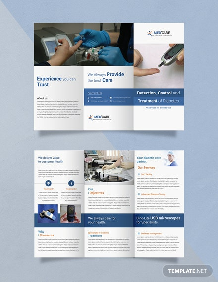 Free Diabetes Brochure Trifold Template