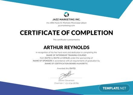 Free Course Completion Certificate Template Free Templates