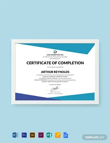 Free Course Completion Certificate Template