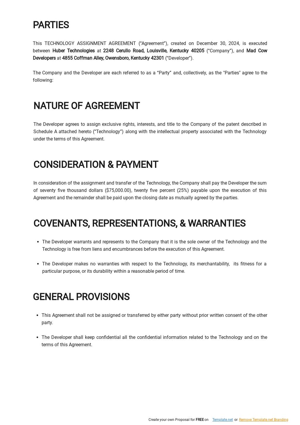 Sample Technology Assignment Agreement Template  1.jpe