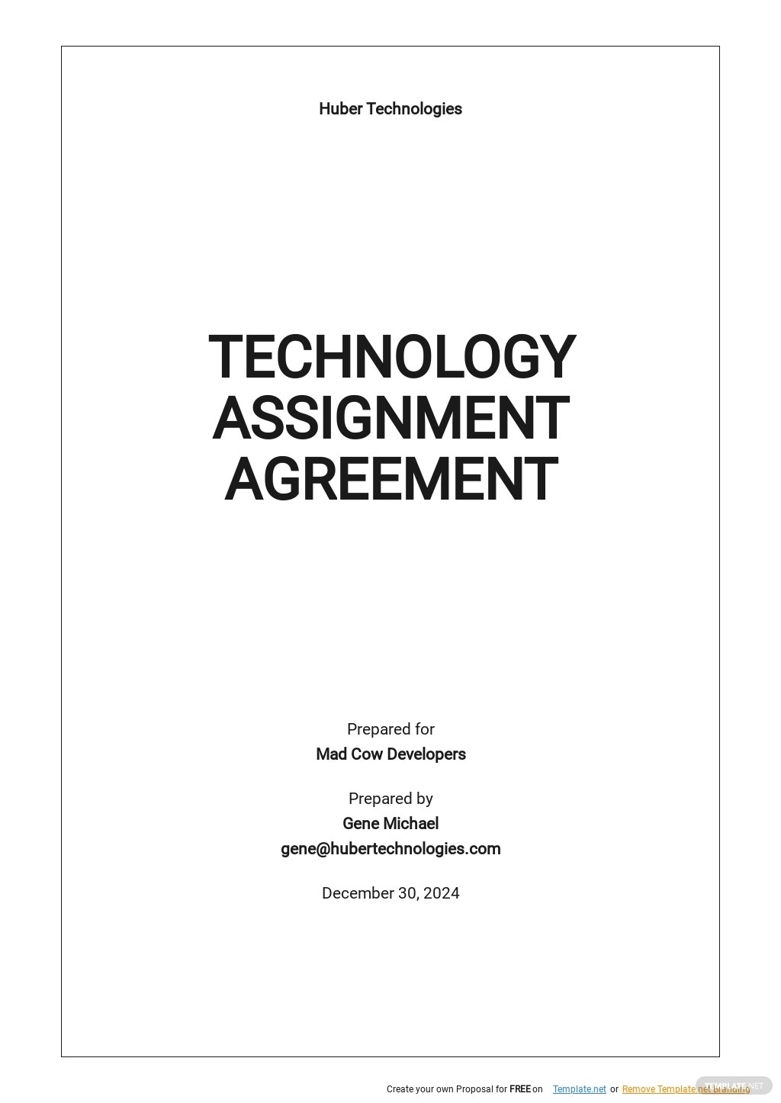 Sample Technology Assignment Agreement Template .jpe