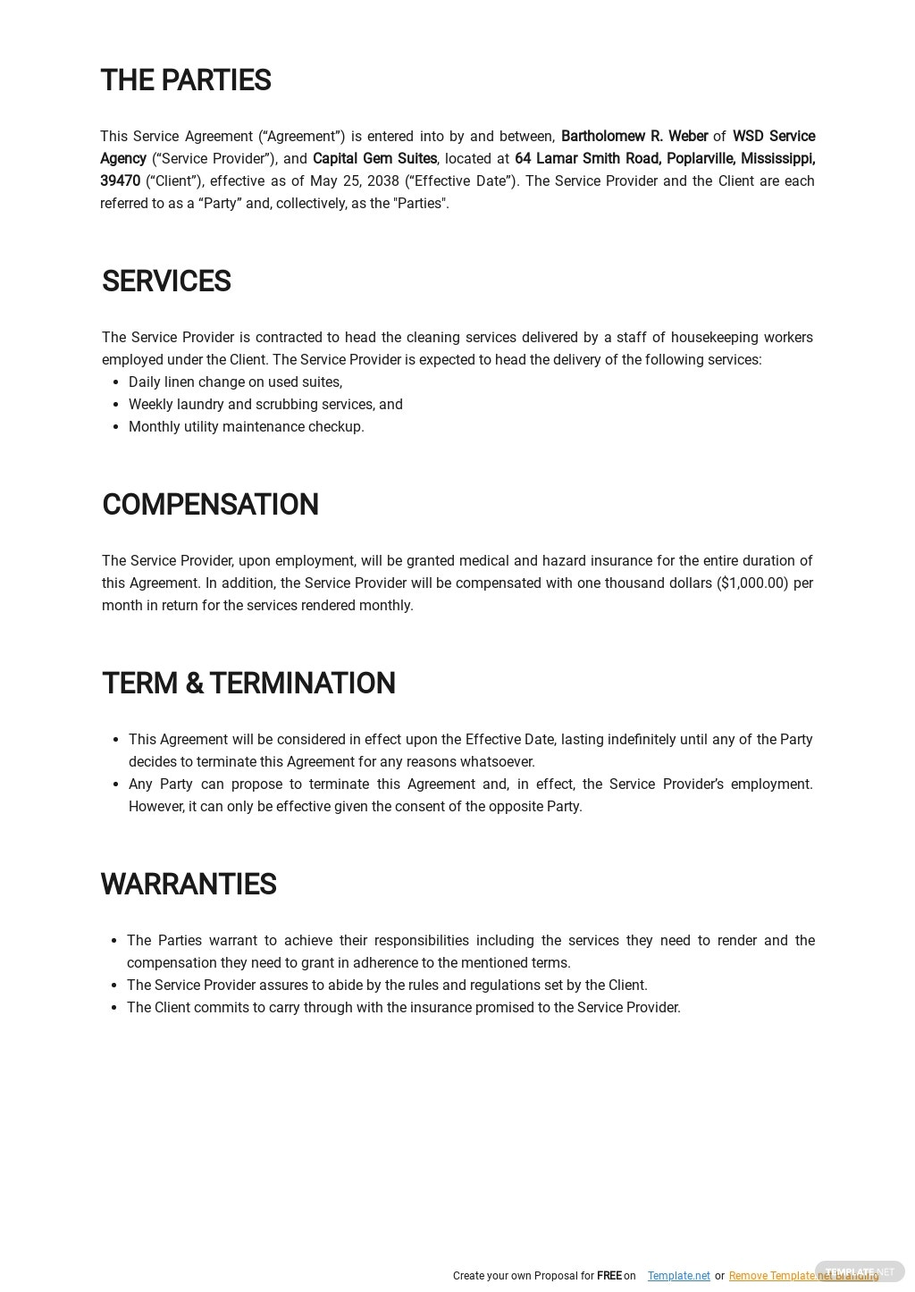 Free Cleaning Service Level Agreement Template 1.jpe