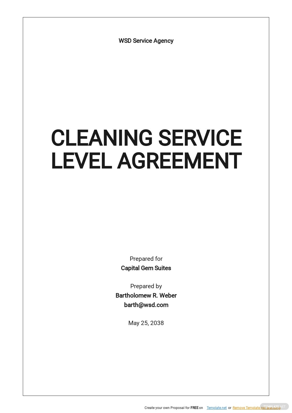 Free Cleaning Service Level Agreement Template.jpe