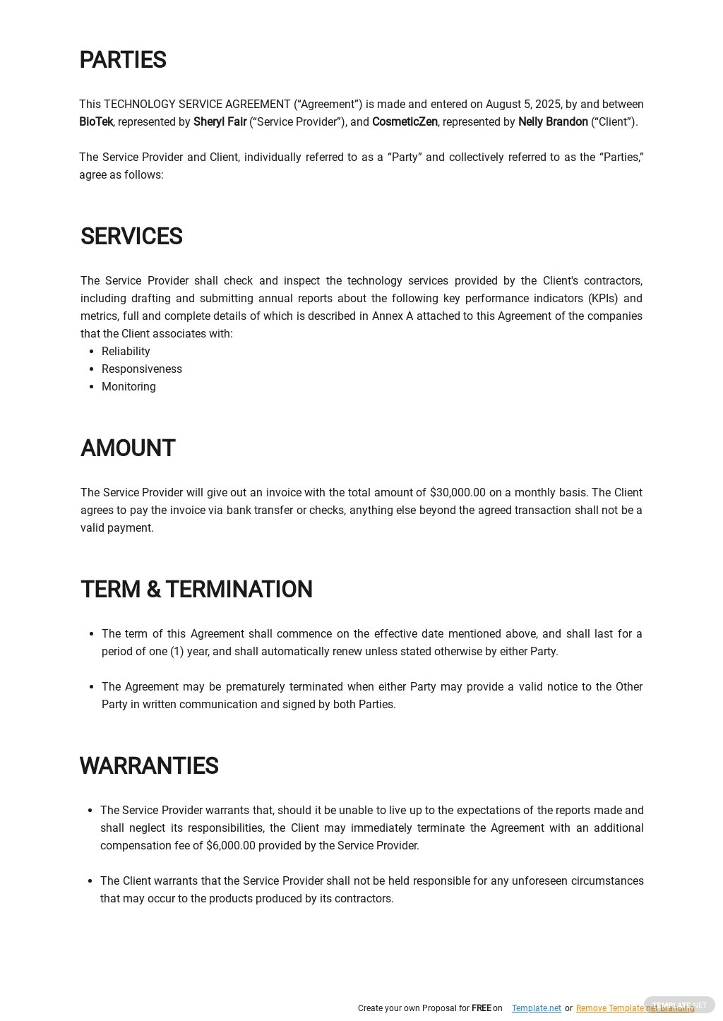 Free Technology Service Level Agreement Template 1.jpe