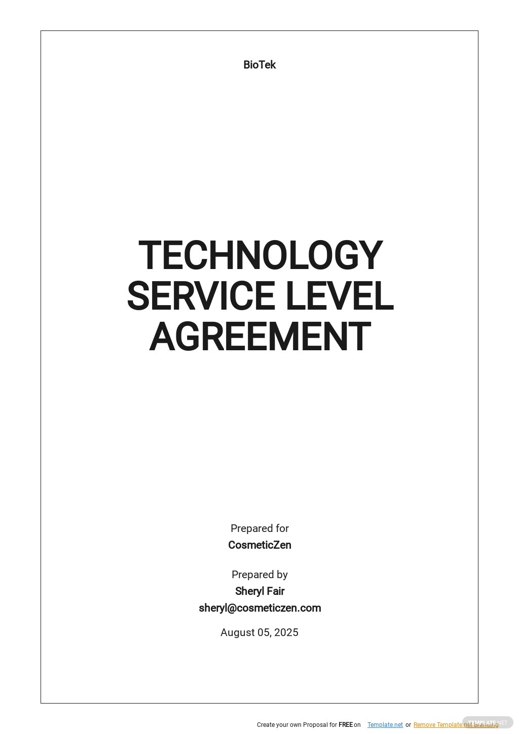 Free Technology Service Level Agreement Template.jpe