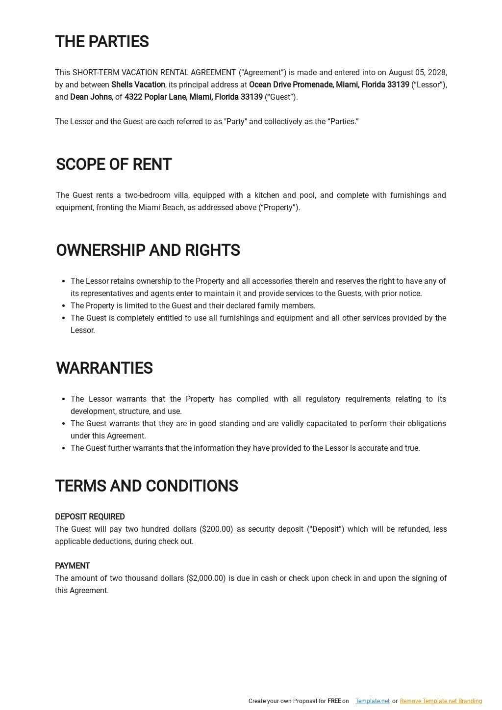 Free Short Term Vacation Rental Agreement Template 1.jpe