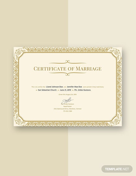Free Marriage Certificate Template Download 358 Certificates In