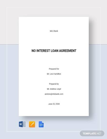No Interest Loan Agreement Template