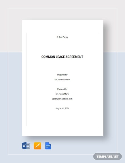 Common Lease Agreement Template