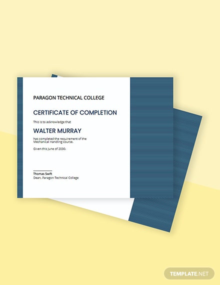 Free Mechanical Diploma Certificate Template