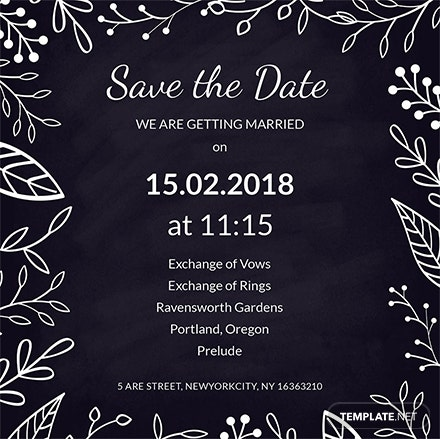 Chalk Board Wedding Invitation Sample