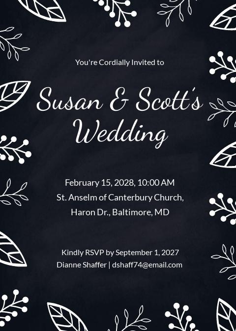 Free Chalk Board Wedding Invitation Template