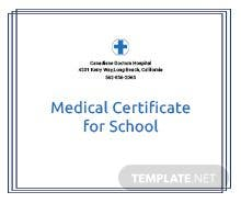 Free Medical Certificate for School Template