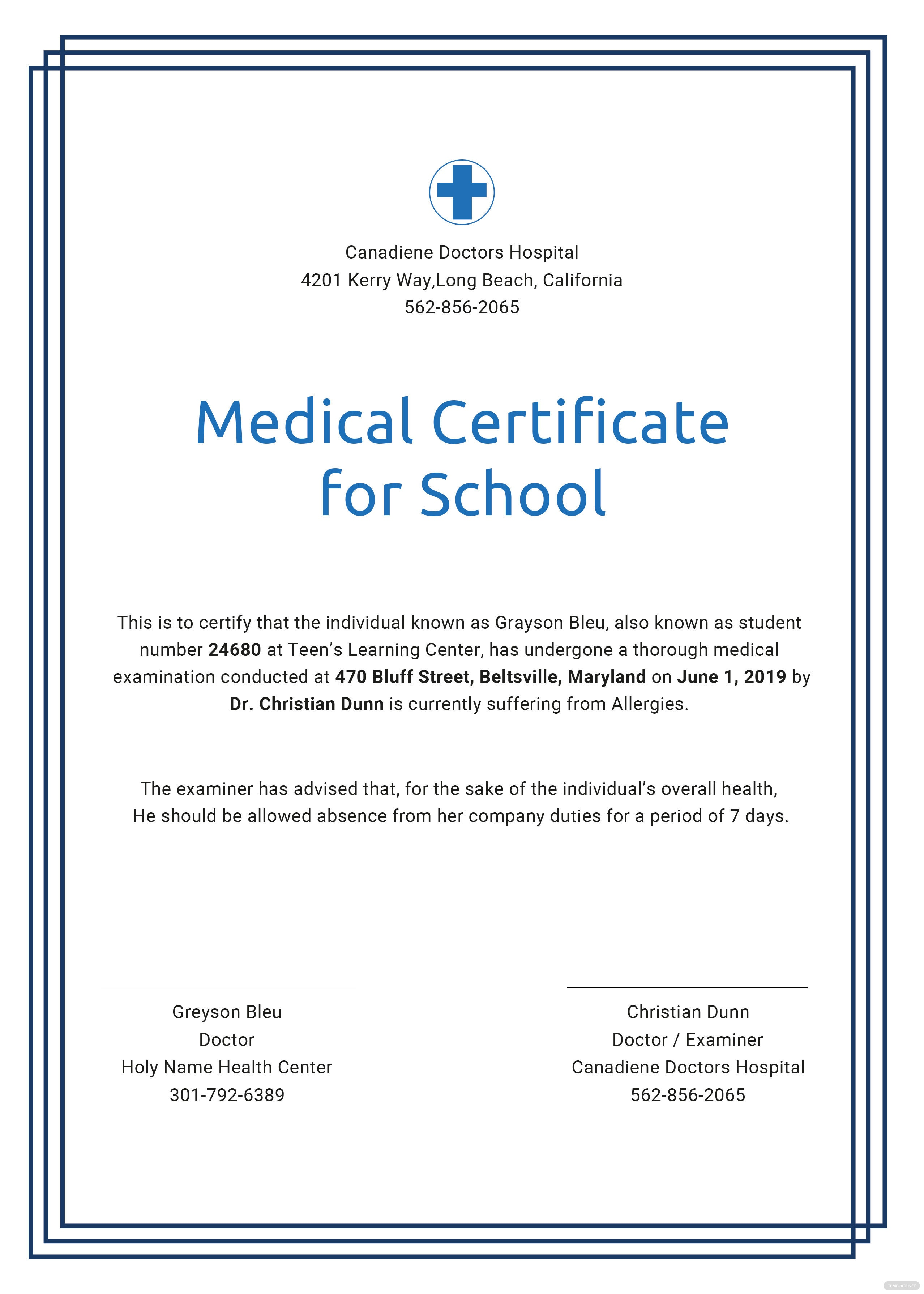 Medical certificate for school template in psd ms word publisher medical certificate for school template 1betcityfo Gallery