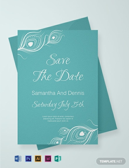 Free Elegant Peacock Wedding Invitation Template