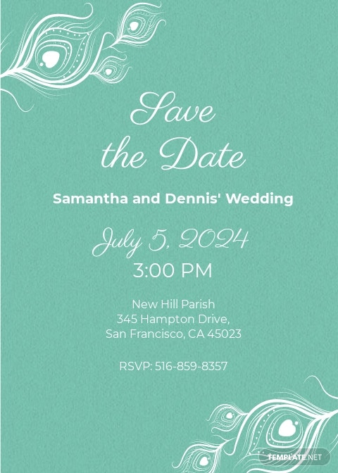 Elegant Peacock Wedding Invitation Template
