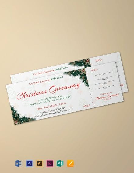 Free Christmas Raffle Promo Ticket Template