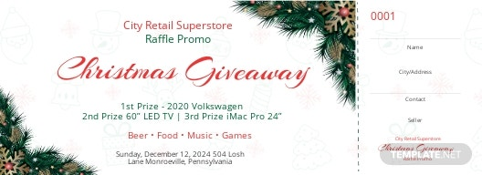 Christmas Raffle Promo Ticket Template
