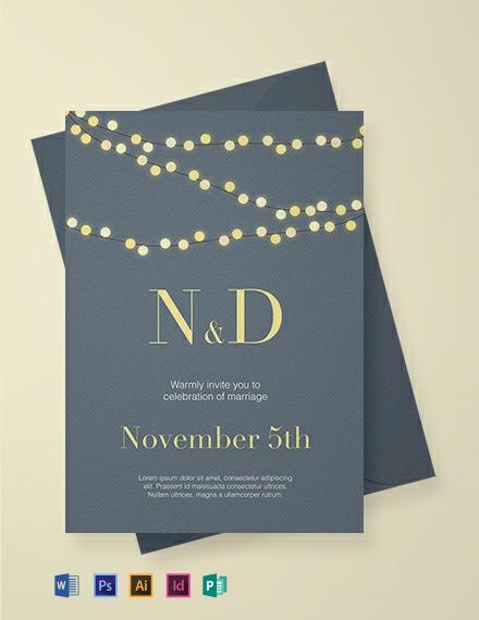 Free String Lights Wedding Invitation Template