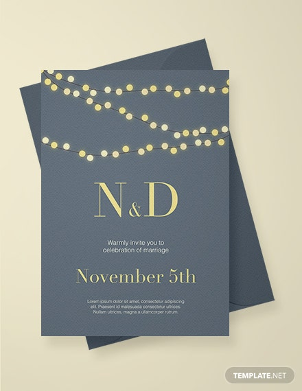 Free String Lights Wedding Invitation Template