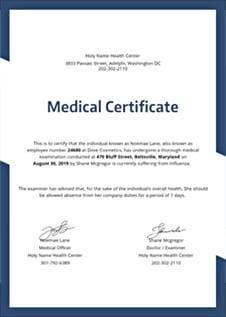 Free Medical Certificate Template