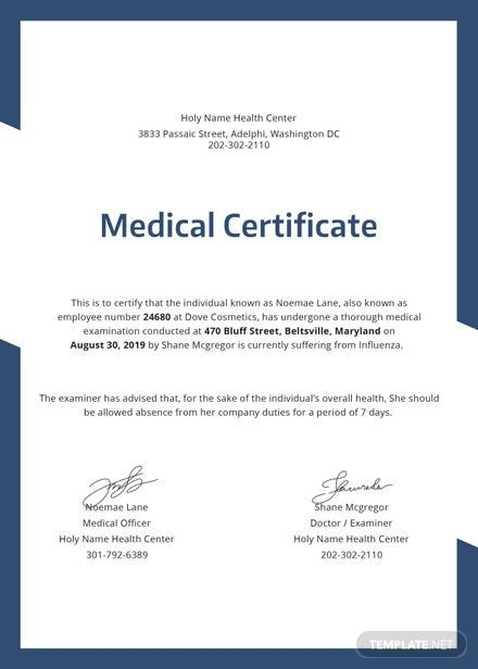 free medical certificate template in psd  ms word