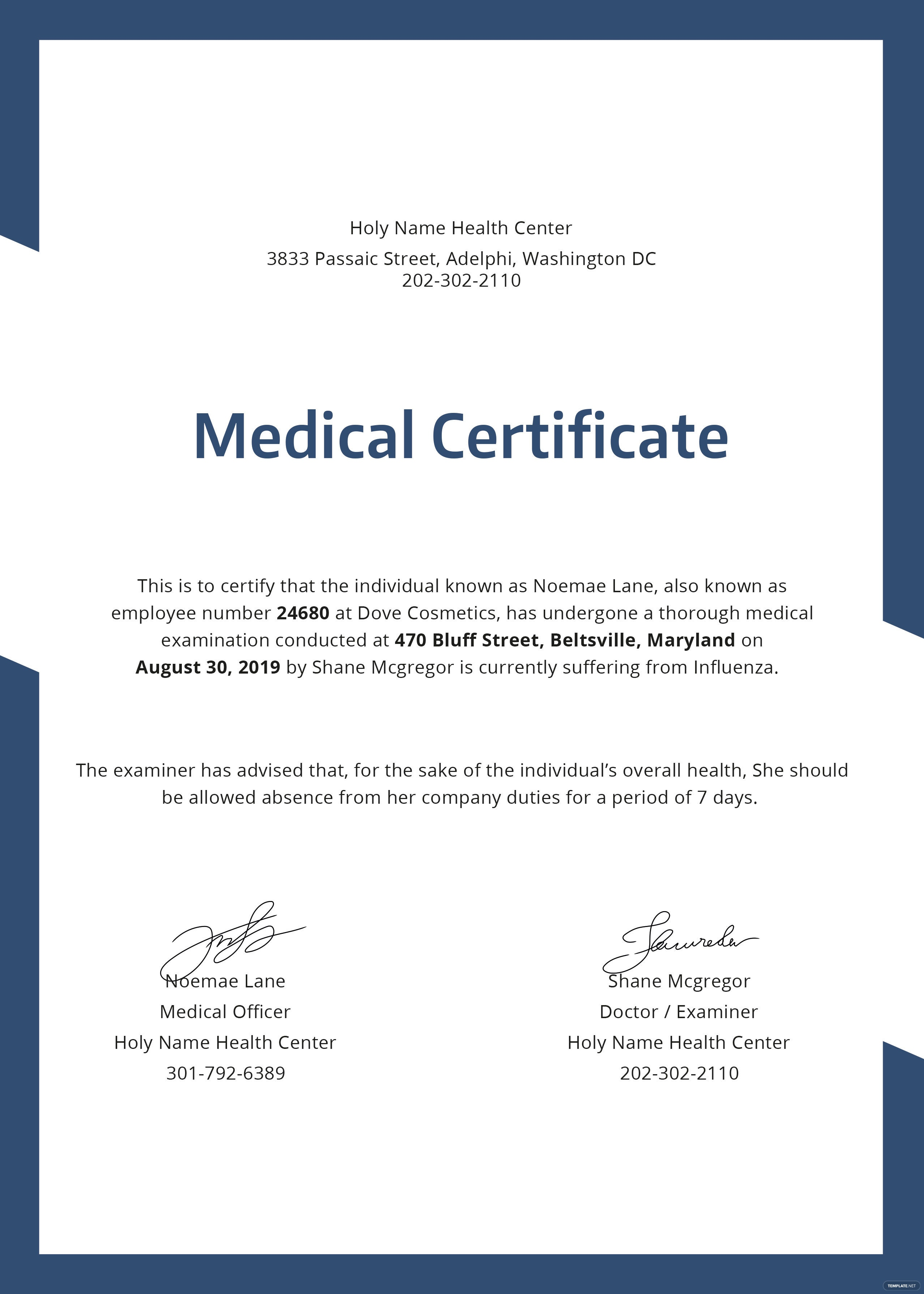 Free medical certificate template in psd ms word for Certification document template
