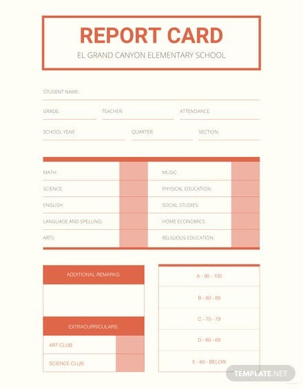 Free Elementary School Report Card Template