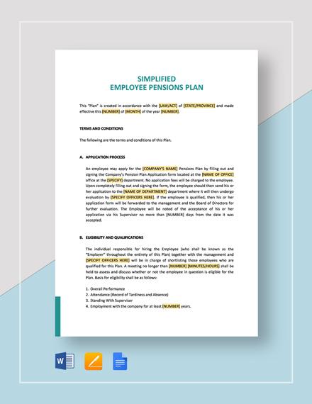 Simplified Employee Pensions Plan Template