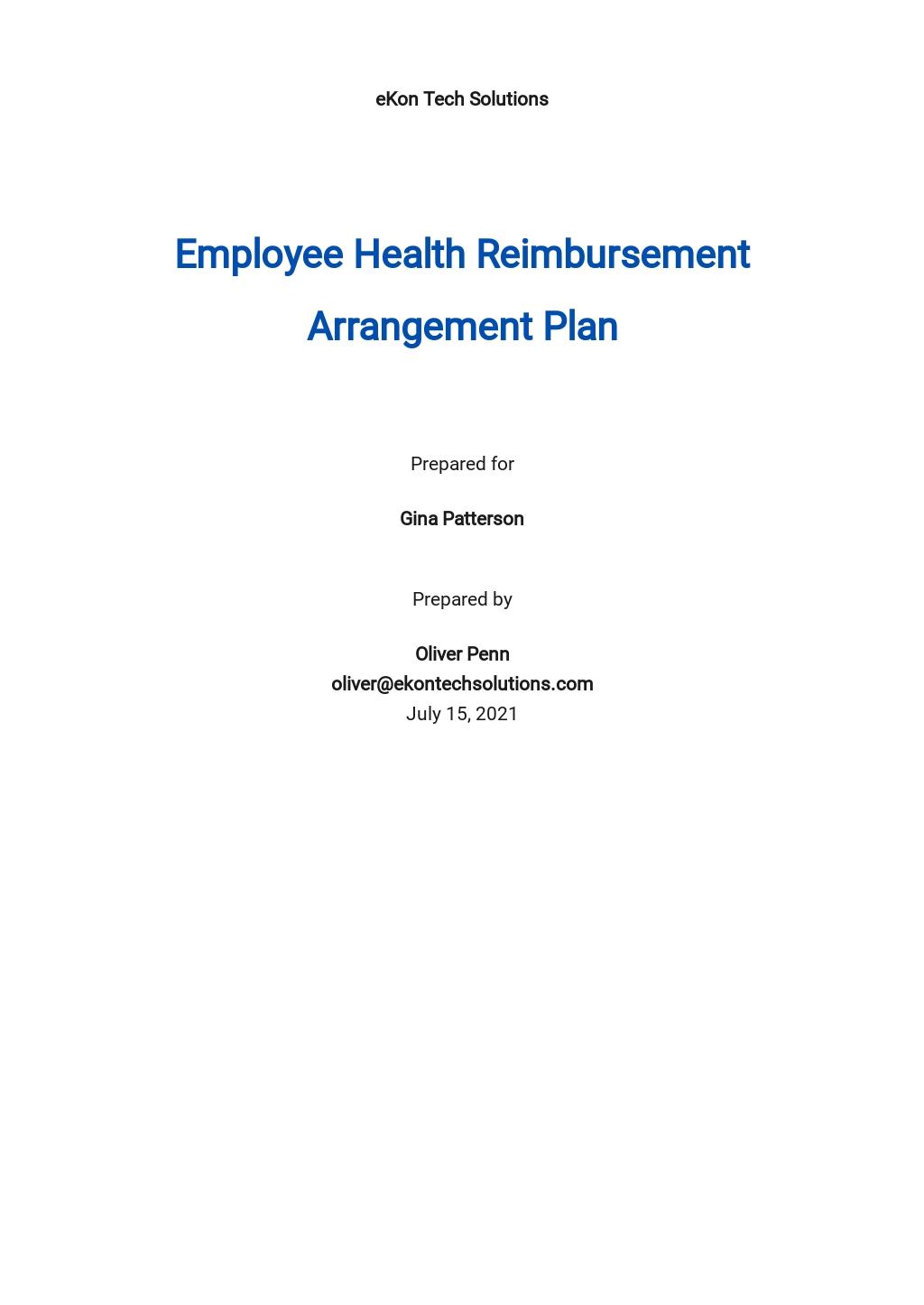 Health Reimbursement Arrangement Plan (HRA) Template
