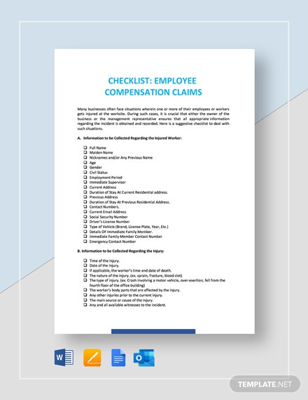 Checklist Worker's Compensation Claims Template
