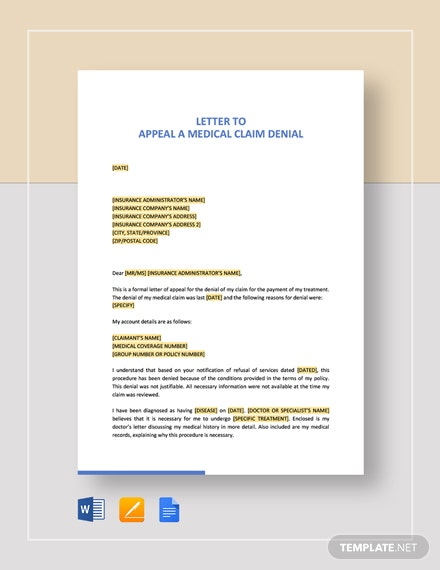 Letter to Appeal a Medical Claim Denial Template