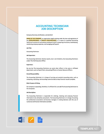 Accounting Technician Job Description Template