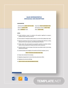 Sales Representative Wholesale Job Description Template